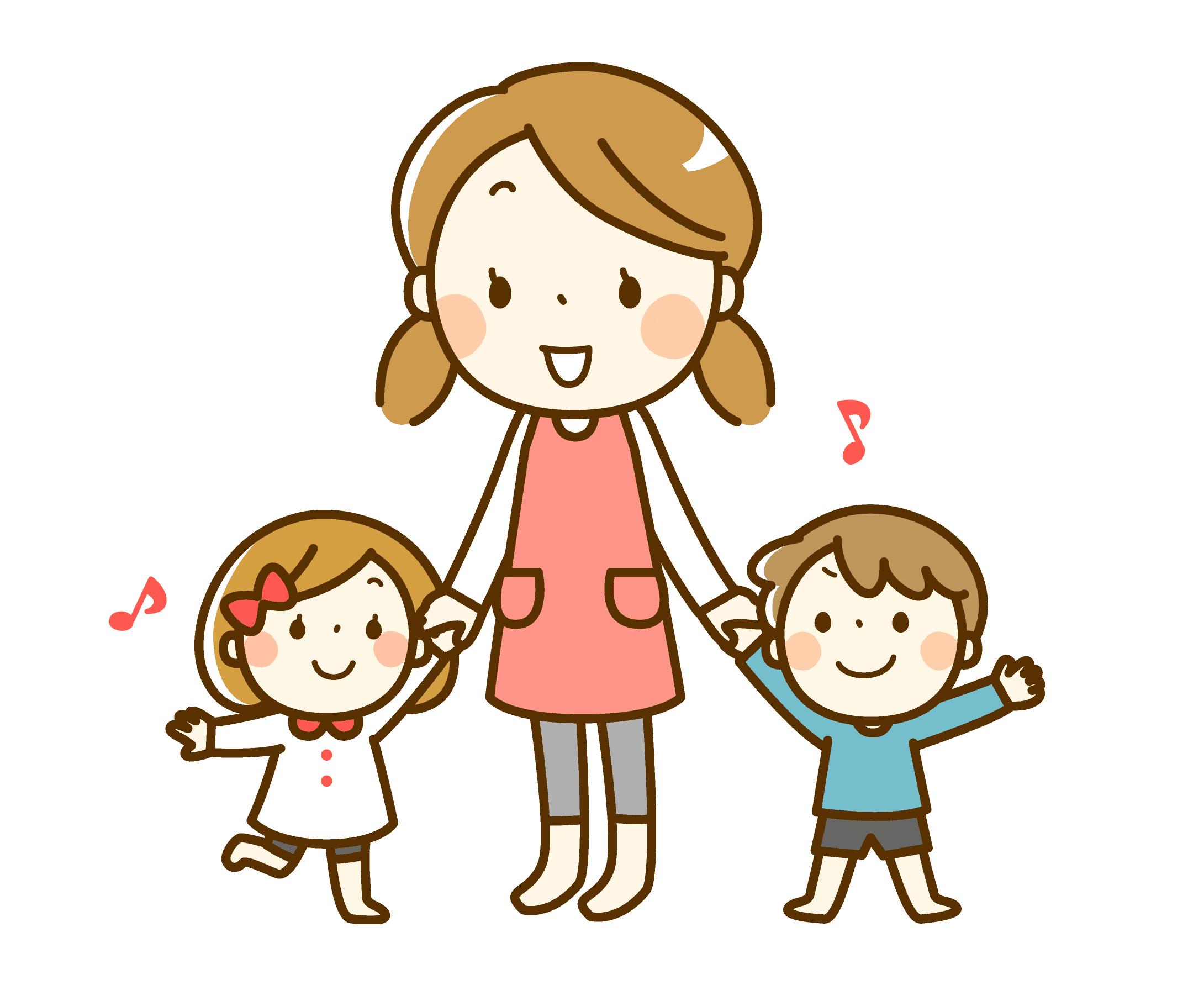 親子陪伴-媽媽陪伴著兩個小孩