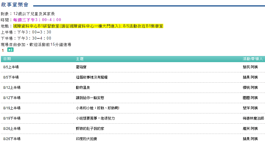 國立臺灣圖書館親子資料中心 ─ 故事童樂會
